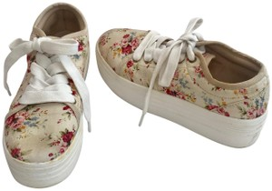 Cute to the Core Sneakers Grommets Laces Flowers Platform Sole Cream Pink Blue Athletic