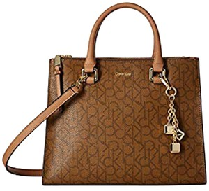 Calvin Klein Faux Leather New With Tag Satchel in Brown