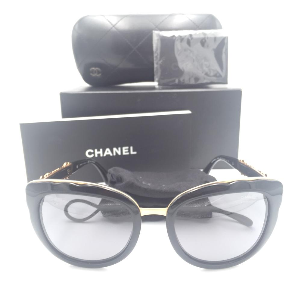 ef96d5680762f Chanel Chanel Butterfly Black Gold Polarized Gray 5356 c.501 T8 Sunglasses  Image 0 ...