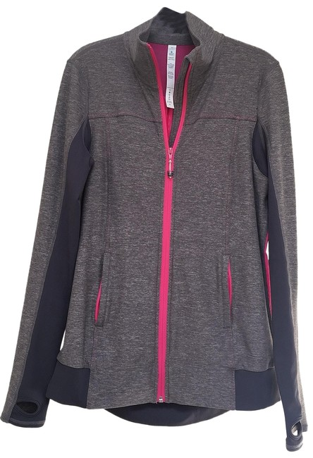 Item - Mid Tone Grey & Pink Tadasana Mesh Back Activewear Outerwear Size 10 (M)