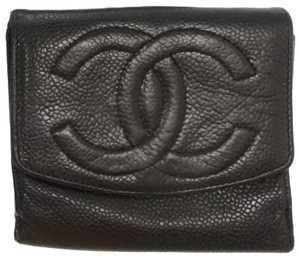 Chanel Travel Leather Cc Card Coin Cash Pouch Purse Mini Id Leather Holder Black Clutch
