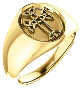 Apples of Gold MEN'S 14K GOLD CELTIC CROSS RING
