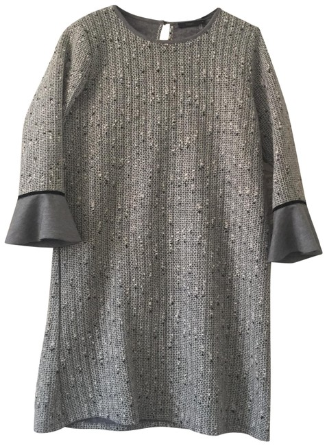 Preload https://img-static.tradesy.com/item/25270718/gray-ruffle-sleeve-tweed-mid-length-workoffice-dress-size-8-m-0-2-650-650.jpg