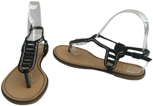 Madden Girl Flops Thongs Jeweled Crystals Black Silver Flats