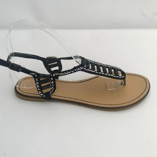 Madden Girl Flops Thongs Jeweled Crystals Black Silver Flats Image 1