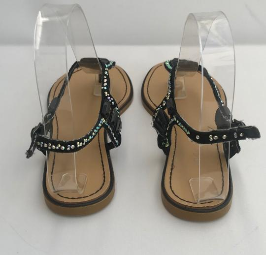 Madden Girl Flops Thongs Jeweled Crystals Black Silver Flats Image 3