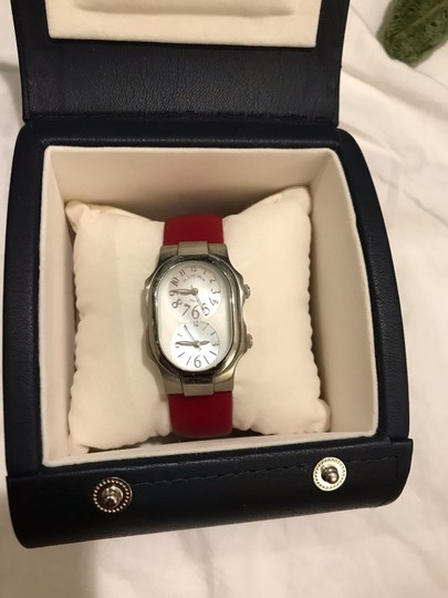 Philip Stein Philip Stein Signature Ladies Red Leather Strap Dual Time Watch 1-CMOP Image 1
