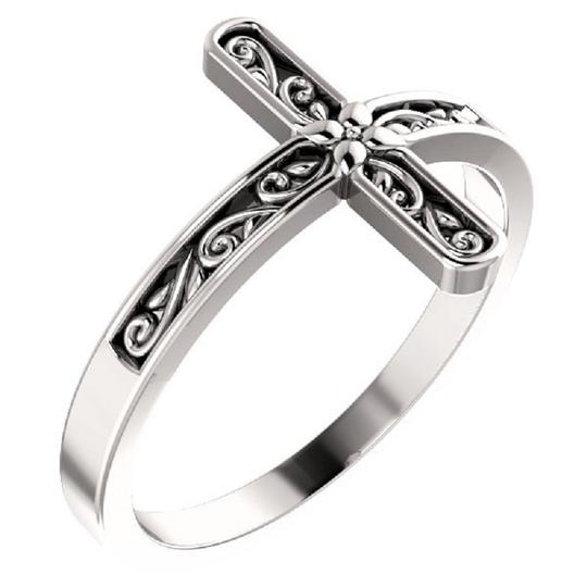 Apples of Gold PAISLEY-CUT CROSS RING FOR WOMEN IN 14K WHITE GOLD Image 1