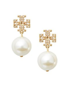 5486989e504 Tory Burch Tory Burch Small GOLD Crystal Pave Pearl Drop Earrings 16k Ivory