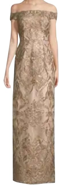 Item - Beige Women 12off The Shoulded Sequined Lace Gown Long Formal Dress Size 12 (L)