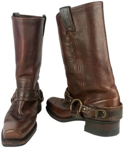 Frye Western Cowboy Distressed Gold Hardware Brown Tan Boots
