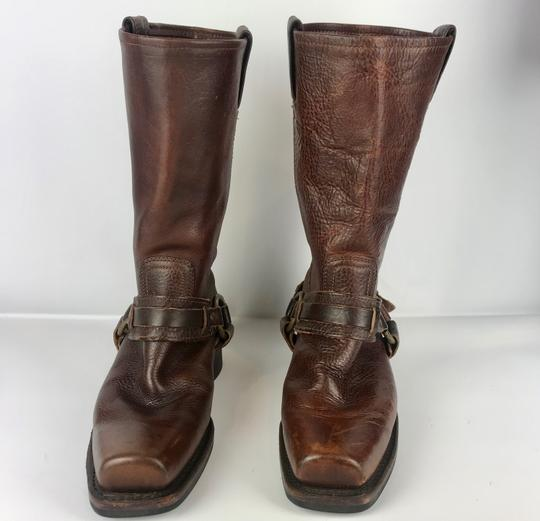 Frye Western Cowboy Distressed Gold Hardware Brown Tan Boots Image 1