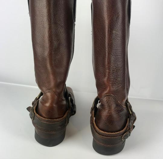 Frye Western Cowboy Distressed Gold Hardware Brown Tan Boots Image 2