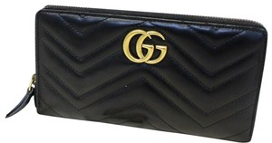 a7625643c16 Gucci GUCCI Matelasse GG Marmont Zip Around Calfskin Wallet Black