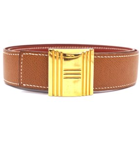 Hermès 32Mm Gold H Kelly Lock Belt Size 70 Reversible leather