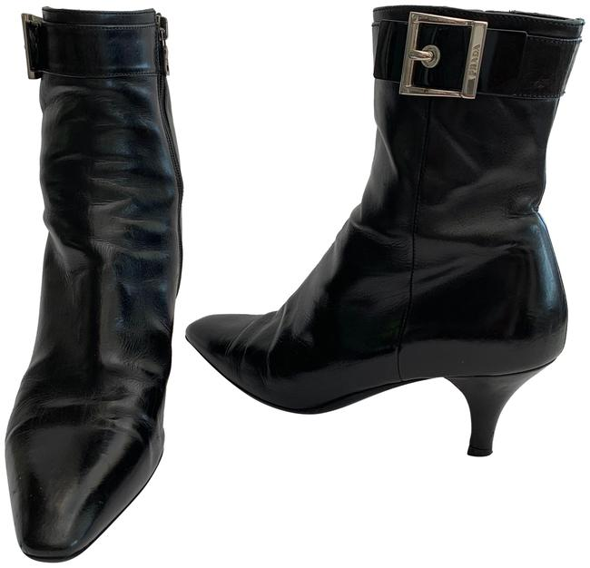 Item - Black Silver Leather Ankle with Zipper Buckle Boots/Booties Size EU 37 (Approx. US 7) Regular (M, B)