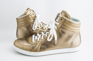 Gucci Gold Imprime Metallic High Top Sneakers Shoes