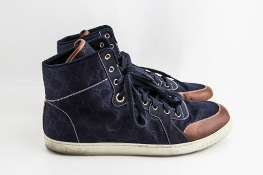 Gucci Blue Nylon Navy Coda High Top Sneakers Shoes Image 3