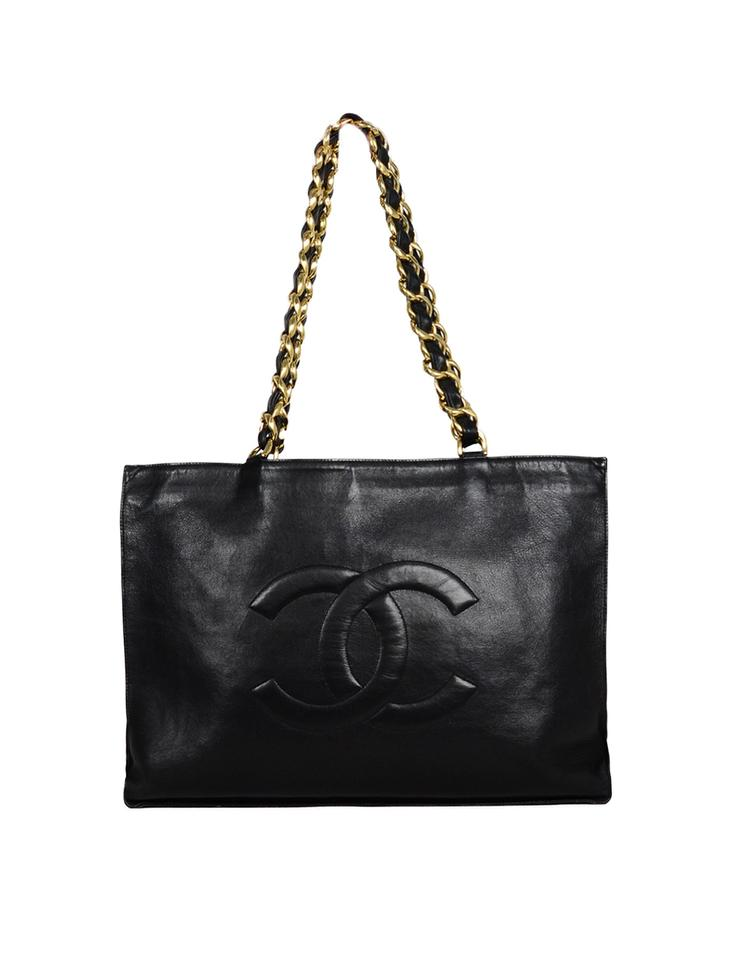 20af419ef53b Chanel Cc Embossed Black Lambskin Leather Tote - Tradesy