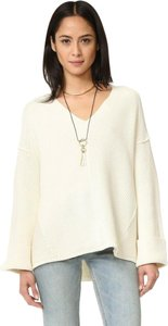 Free People Oversized Chunky Slouch Cotton V-neck Sweater
