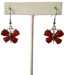 Other Red Agate Gemstone. Butterflies Dangle Earrings
