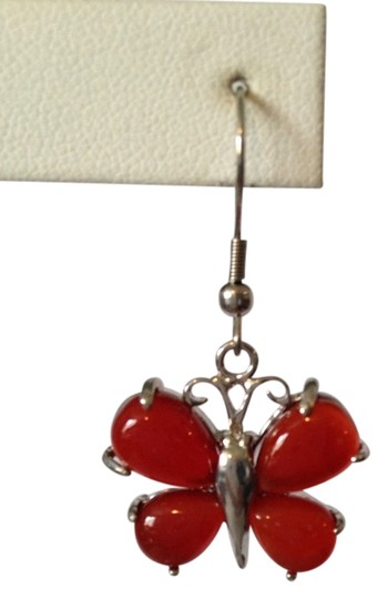 Other Red Agate Gemstone. Butterflies Dangle Earrings Image 1