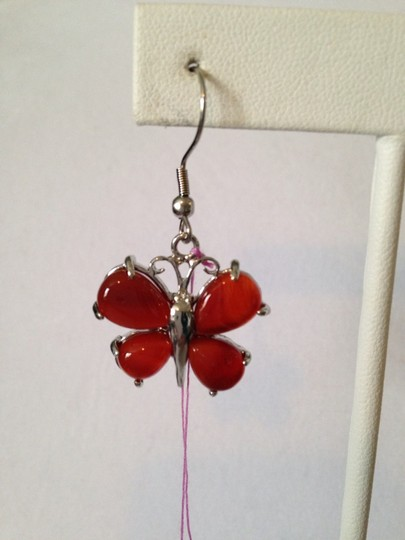 Other Red Agate Gemstone. Butterflies Dangle Earrings Image 2
