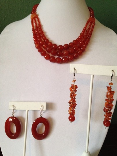 Other Red Agate Gemstone. Butterflies Dangle Earrings Image 5