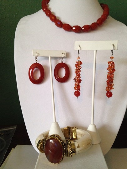 Other Red Agate Gemstone. Butterflies Dangle Earrings Image 6