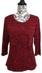 NY Collection Knit Petite Marbled Top multi red