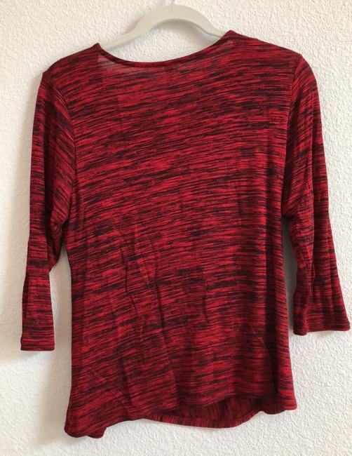 NY Collection Knit Petite Marbled Top multi red Image 4