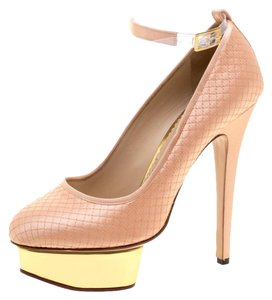 Charlotte Olympia Satin Ankle Strap Peach Pumps