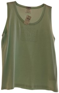 Chanel Sleeveless Cc Embroidered Top Light Mint