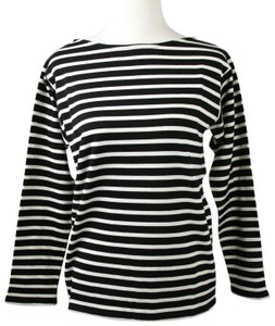 Saint Laurent Women Black/White Striped Jersey Sweater