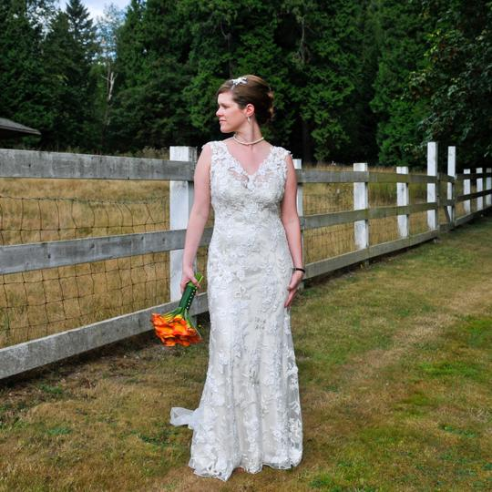 Allure Bridals Ivory & Cafe Charmeuse and Tulle Lace 8800 Vintage Wedding Dress Size 8 (M) Image 1