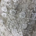 Allure Bridals Ivory & Cafe Charmeuse and Tulle Lace 8800 Vintage Wedding Dress Size 8 (M) Image 4