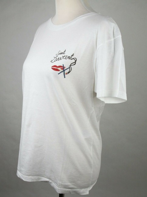 Saint Laurent Women's Fitted Crew Neck T Shirt Ivory Image 3