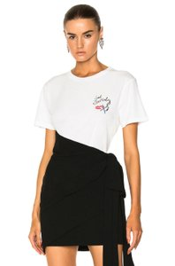 Saint Laurent Women's Fitted Crew Neck T Shirt Ivory