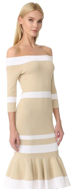 Preload https://img-static.tradesy.com/item/25271607/jonathan-simkhai-white-and-beige-sold-out-off-shoulder-striped-trumpet-knit-mid-length-cocktail-dres-0-1-650-650.jpg