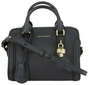 Alexander McQueen Leather Gold Skull Satchel in Dark Navy