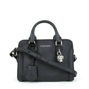 Alexander McQueen Leather Silver Skull Satchel in Dark Navy