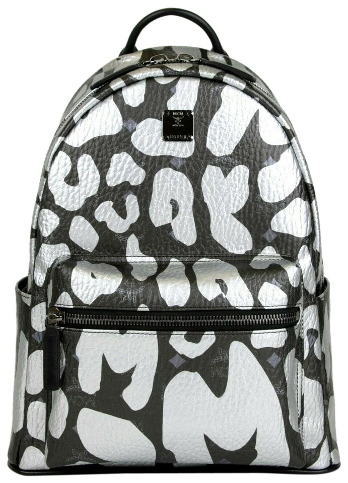 9925ba4856f5 MCM Leopard Print Mmk8ave13bk001 Black/Silver Coated Canvas Backpack ...