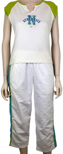 Item - Turquoise Aqua White Green 2 Nylon Pants & Cotton Top Fitness Activewear Bottoms Size 6 (S, 28)