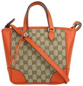 0f32a143b464af Gucci Brown/Orange Gg Canvas Small Crossbody Tote in Brown/Orange