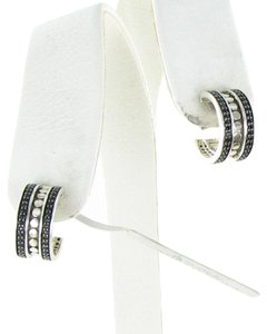 John Hardy Dot Hoop Earrings Black Spinels Sterling Silver EBS390074BN