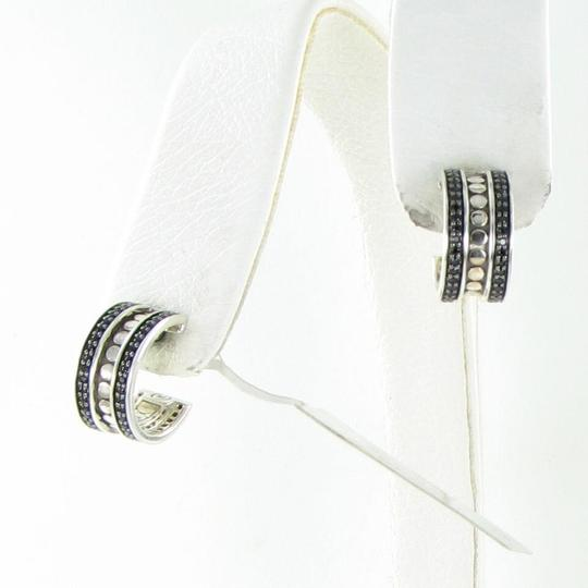 John Hardy Dot Hoop Earrings Black Spinels Sterling Silver EBS390074BN Image 1
