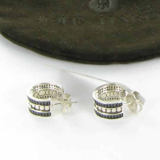 John Hardy Dot Hoop Earrings Black Spinels Sterling Silver EBS390074BN Image 3
