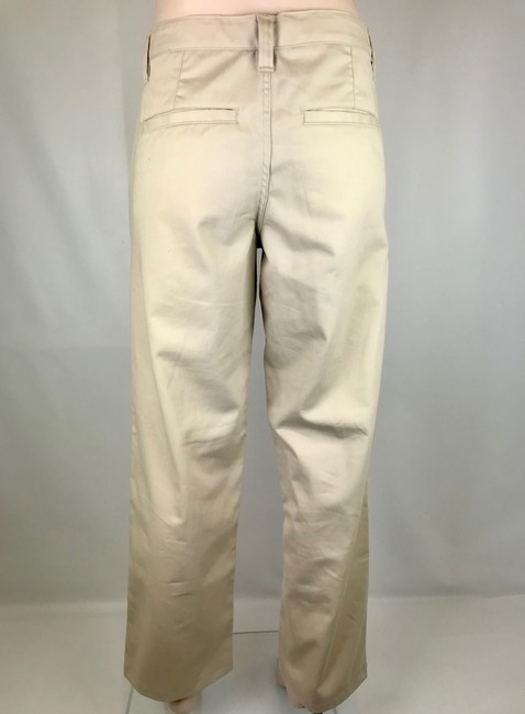 Old Navy New Pockets Flat Front Small Straight Pants Khaki Beige Pumice Image 2