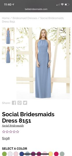 Social Bridesmaids Larkspur Matte Chiffon Style 8151 Formal Bridesmaid/Mob Dress Size 6 (S) Image 1