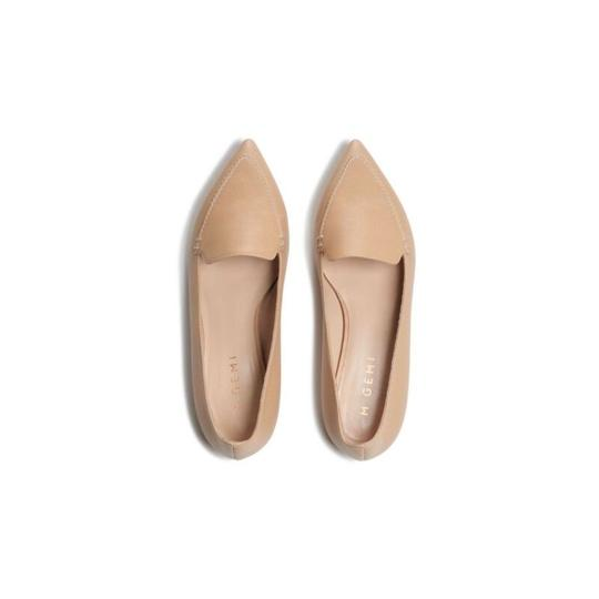 M.Gemi Leather Pointed Toe Tan Flats Image 2
